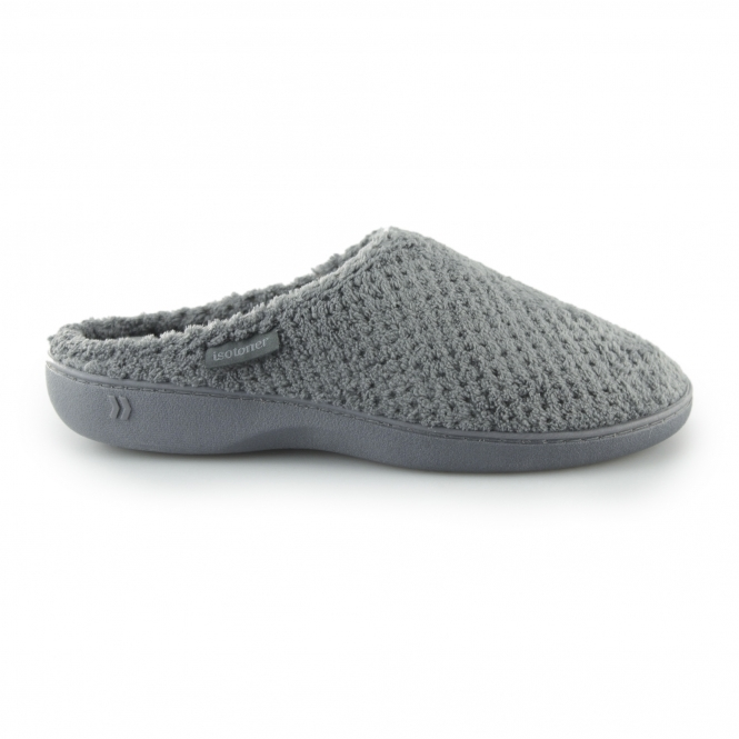 89bec8f9119ca Totes Isotoner POPCORN TERRY Ladies Mule Slippers Grey