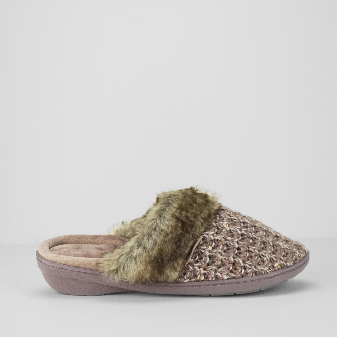 Totes Isotoner SPARKLE KNIT Ladies Mule Slippers Pink