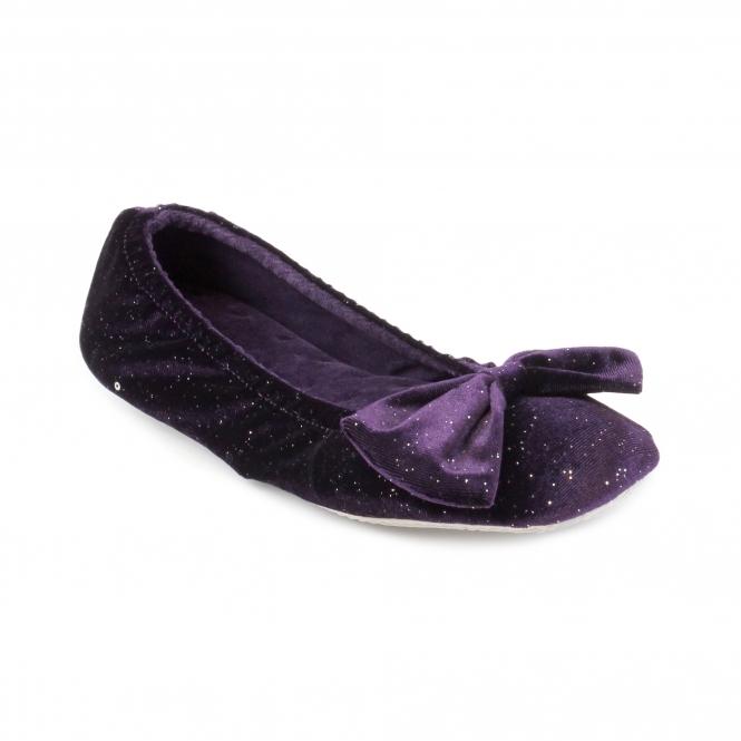 f5fb49cc24f Totes Isotoner SPARKLE VELOUR BIG BOW Ladies Ballet Slippers Purple ...