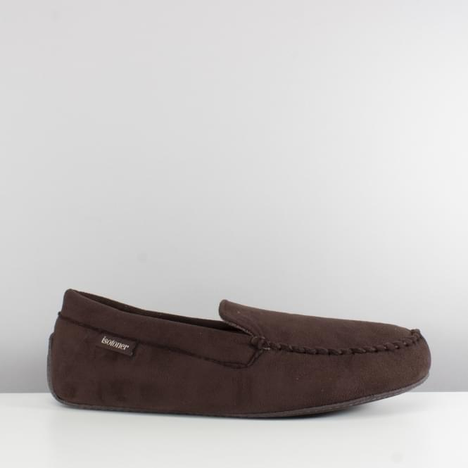 Totes Isotoner SUEDETTE Mens Moccasin Slippers Brown