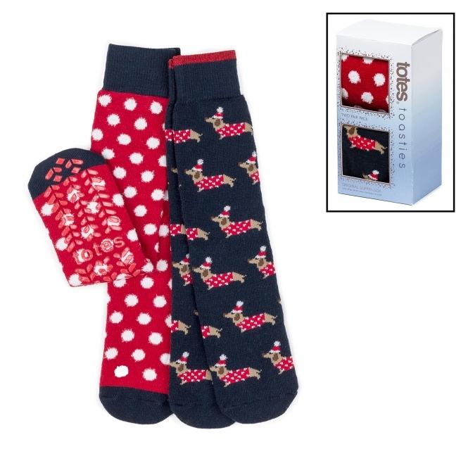 ef4334ecd7db Totes Toasties ORIGINAL SAUSAGE DOG Ladies Slipper Socks Twin Pack ...