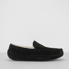 ASCOT Mens Moccasin Slippers Black