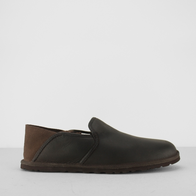 ugg cooke mens leather full slippers brown grizzly house of slippers