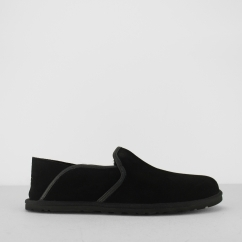 COOKE Mens Suede Full Slippers Black