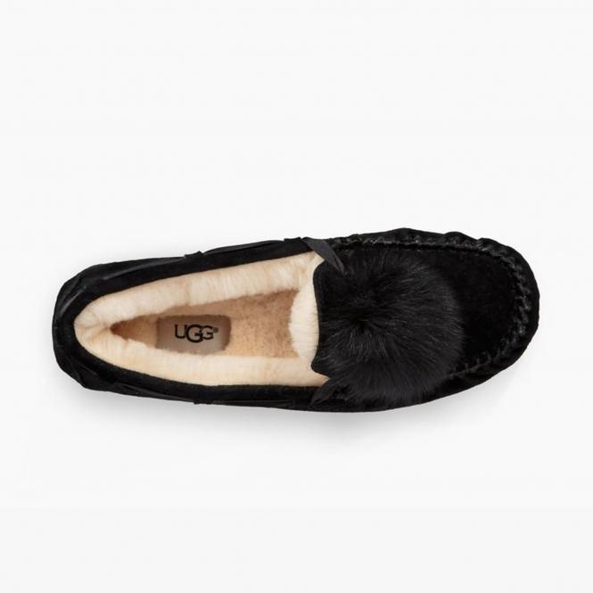 3d703b17bc6 DAKOTA POM POM Ladies Moccasin Slippers Black