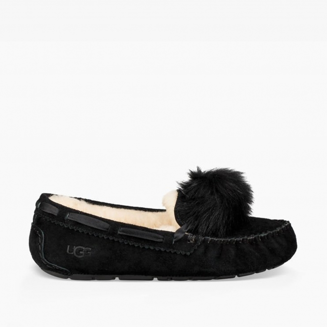 f7e865c715f DAKOTA POM POM Ladies Moccasin Slippers Black