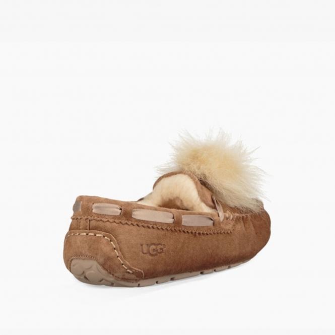 44aab05ba89 DAKOTA POM POM Ladies Moccasin Slippers Chestnut