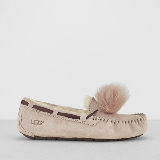 5d7b65f49ca4c UGG DAKOTA POM POM Ladies Moccasin Slippers Dusk | House of Slippers