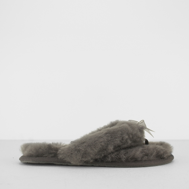 FLUFF FLIP FLOP II Ladies Toe Post Slippers Grey