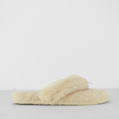 FLUFF FLIP FLOP II Ladies Toe Post Slippers Natural