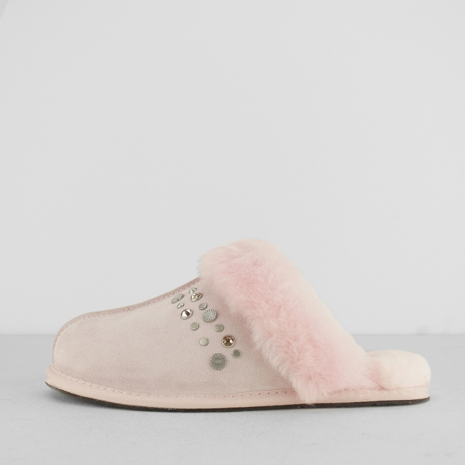 56d5f3507162 SCUFFETTE II STUDDED BLING Ladies Mule Slippers Seashell Pink