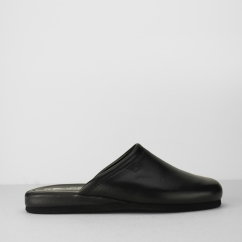 6600 Mens Leather Mules Black